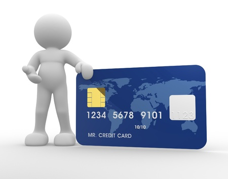creditcard: 3d people icon with a credit card on a white background- This is a 3d render illustration