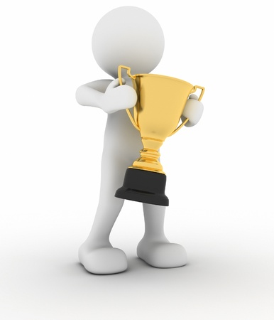 3d human icon holding golden trophy  Stock Photo - 14664901