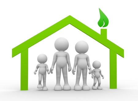 People family icons and a house symbol - 3d render  photo