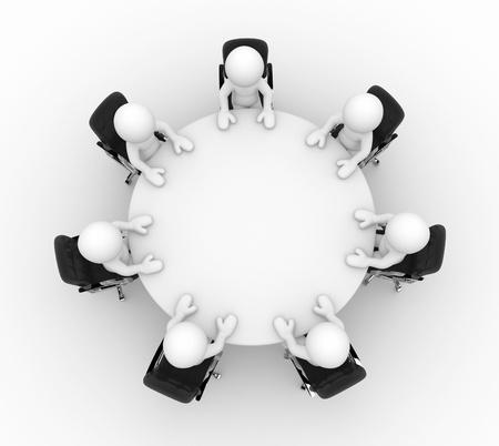 tabulka: 3d lidé na konferenční stůl s posezením podnikání - to je 3d vykreslování ilustrace Reklamní fotografie