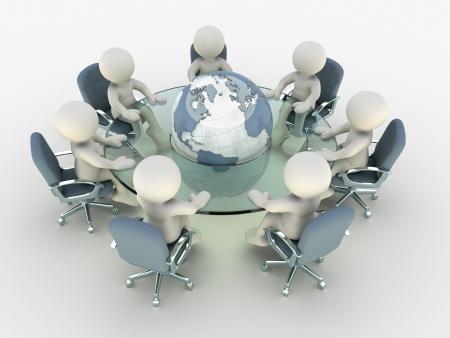 conferentie: 3d mensen op conferentie tafel rond aarde Dit is een 3d render illustratie