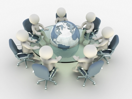 globalisation: 3d people at conference table around earth- This is a 3d render illustration