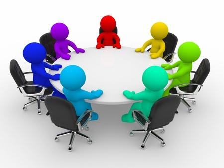 conferentie: 3d mensen van verschillende nationaliteiten op de conferentie tafel Stockfoto