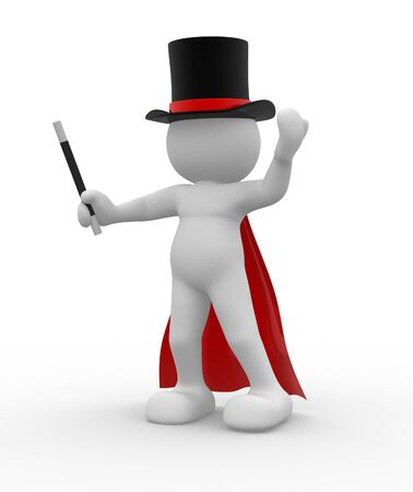 Magician  over white background - This is a 3d render illustration illustration