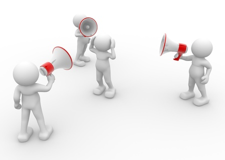 reproach:  3d human character with megaphone - This is a  3d render illustration Stock Photo