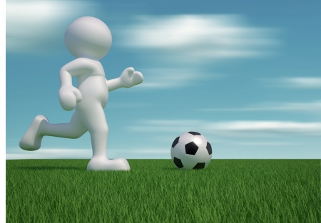 3d people icon with the ball in the grass - This is a 3d render illustration illustration