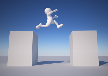 3d people icon jumping - This is a 3d render illustration Stock Illustration - 14664895
