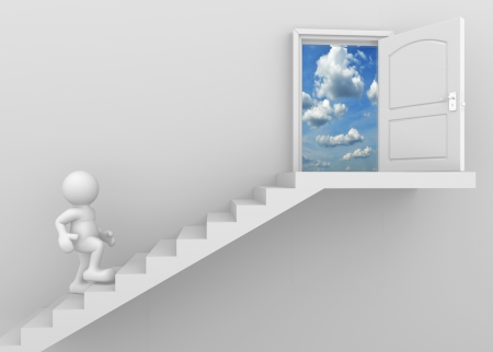 step ladder: 3d man climbing the stairs to the open door - this is a 3d render illustration