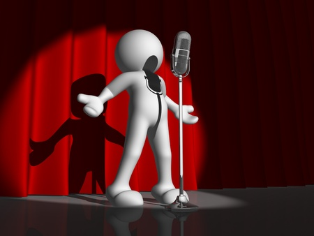 songs: 3d people character singing on stage - This is a 3d render illustration Stock Photo