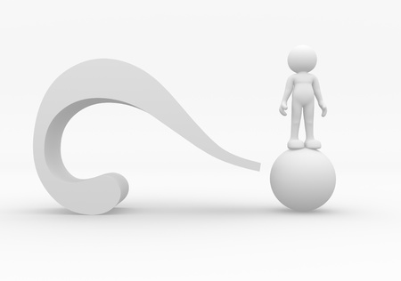 problem solving: 3d person character and a question mark - 3d render illustration  Stock Photo