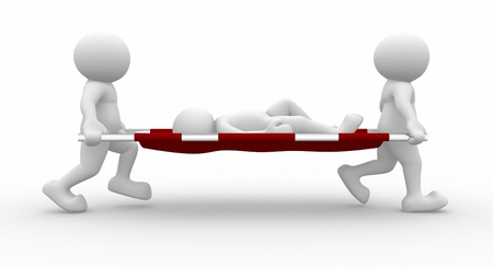 injured person: 3d stretcher bearers - This is a 3d render illustration