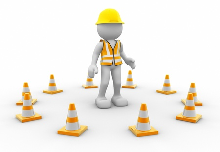 under construction sign with man: 3d icon man and traffic coins - This is a 3d render illustration