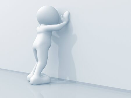 despair: 3d man leaning against wall - render illustration Stock Photo