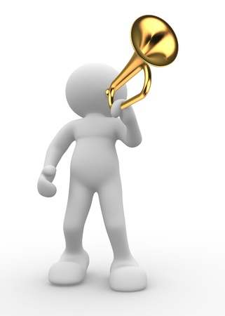 3d people icon playing trumpet- This a 3d render illustration Stock Illustration - 14664858