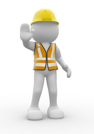 vest: 3d people with vest and helmet - This is a 3d render illustration