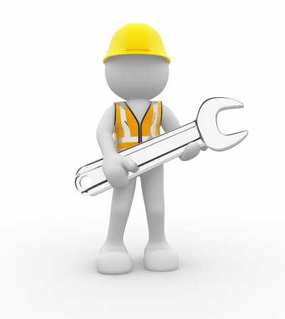 Worker with wrench - this is a 3d render illustration  illustration