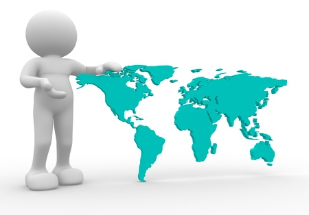 3d person  icon with the world map - This is a 3d render illustration illustration