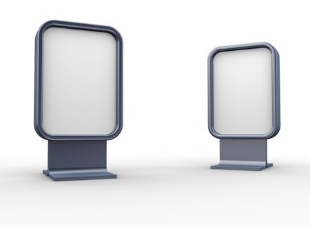 Two blank vertical billboards - This is a 3d render illustration illustration