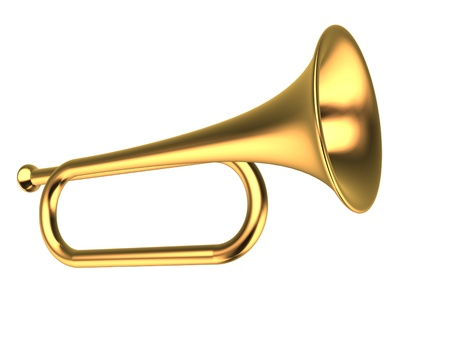 Gold trumpet on white background - This is a 3d render illustration illustration