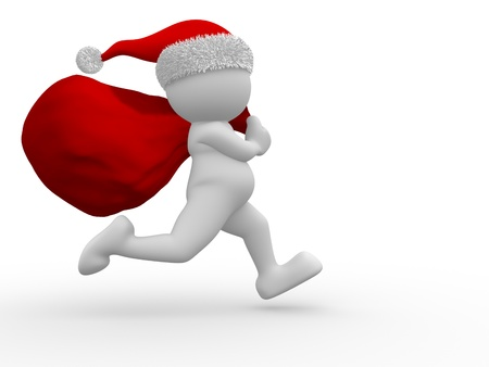 3d people - human character Santa Claus  with bag full of gifts. 3d render illustration illustration
