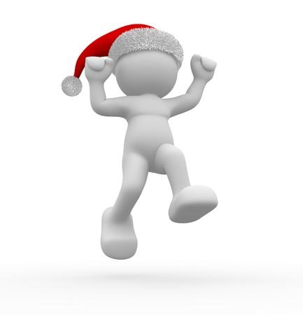 3d people - human character Santa Claus  happy. 3d render illustration Stock Illustration - 14664928