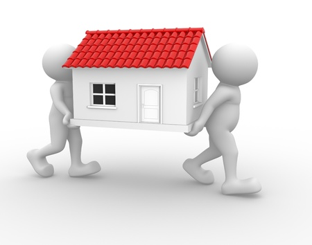 sold: 3d people - human character and a house. 3d render illustration