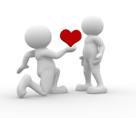 declaracion de amor: La gente 3d - car�cter humano - el concepto amor. 3d hacer ilustraci�n