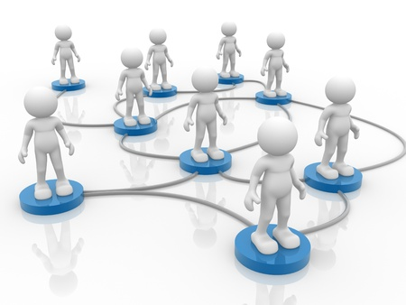 3d people- human character arranged in a network. 3d render illustration illustration