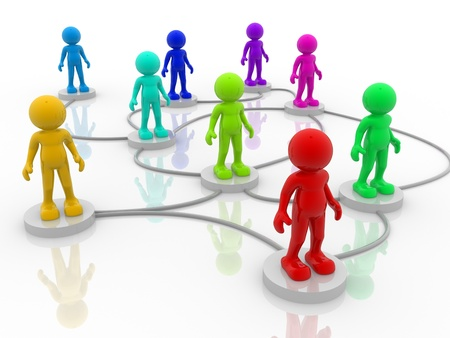 3d people- human character arranged in a network. 3d render illustration Stock Illustration - 14664989