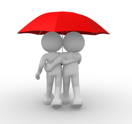 love in rain: 3d people- human character people under the umbrella - This is a 3d render illustration Stock Photo