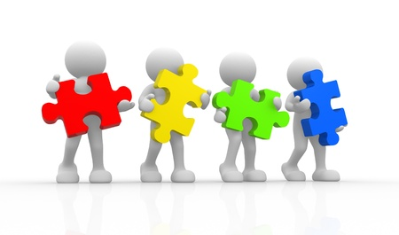 entreprise puzzle: 3d people - caract�re humain avec le puzzle. Illustration de rendu 3d Banque d'images