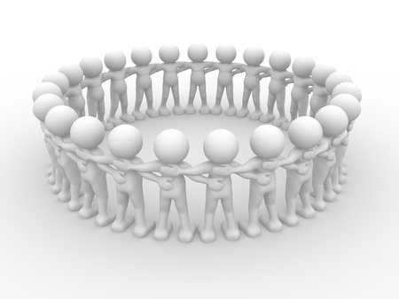 co action: 3d people - human character sit in a circle. 3d render illustration