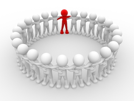 co action: 3d people - human character in circle with leadership.3d render illustration Stock Photo