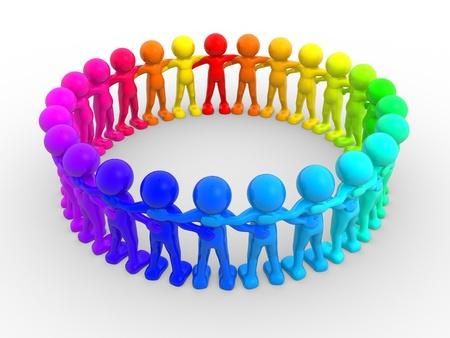 amistad: La gente 3d - carácter humano en el círculo. 3d hacer ilustración