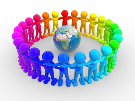 3d people - human character in circle and earth globe. 3d render illustration Stock Photo