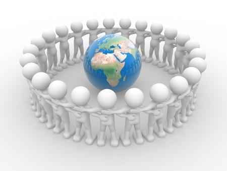 solidaridad: Gente 3d - car�cter humano y el globo terrestre. 3d hacer ilustraci�n Foto de archivo