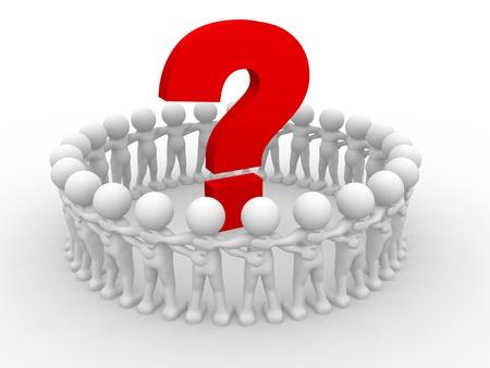 punto di domanda: Persone 3d - carattere umano e il punto interrogativo. Render 3d illustration