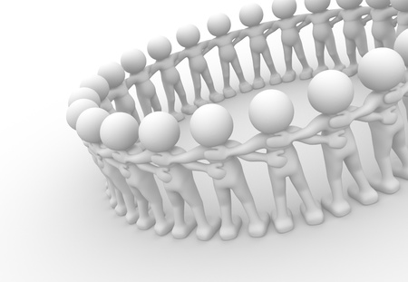 3d people - human character sit in a circle. 3d render illustration Stock Illustration - 14664981