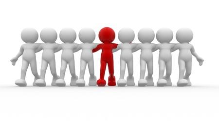 3d people - human character - leadership and team. 3d render illustration illustration