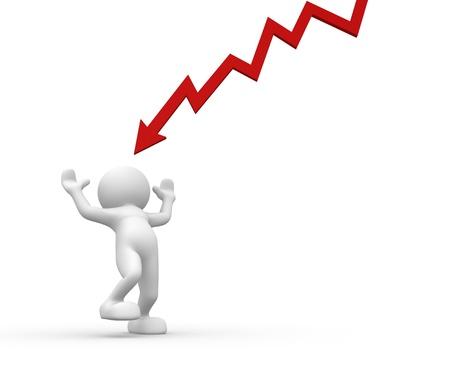 financiele crisis: 3d mensen - menselijk karakter met een rode grafische pijl - financiële crisis. 3d render