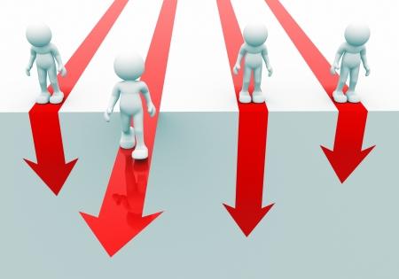 3d people - human character on a arrow. 3d render illustration illustration