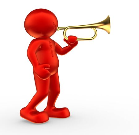 operetta: 3d people - human character and trumpet. 3d render illustration Stock Photo