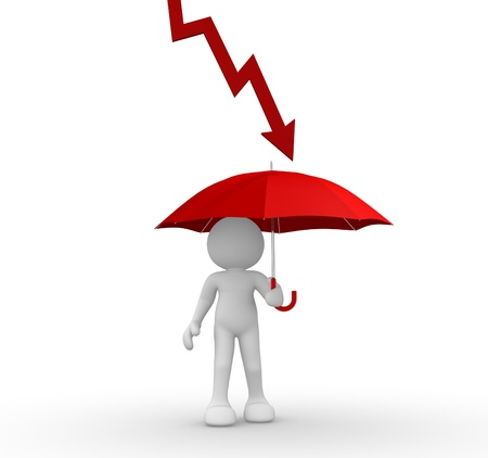 demotion: 3d people - human character with a red graphic arrow and umbrella -  financial crisis. 3d render  Stock Photo