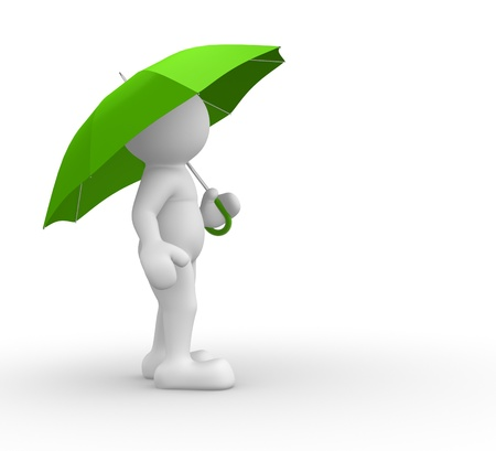 3d people- human character under green umbrella  - This is a 3d render illustration  illustration