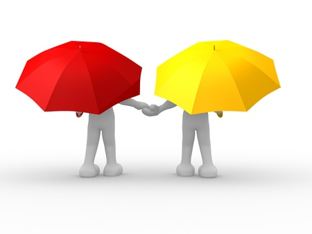 yellow umbrella: 3d people- human character people under the umbrella - This is a 3d render illustration Stock Photo