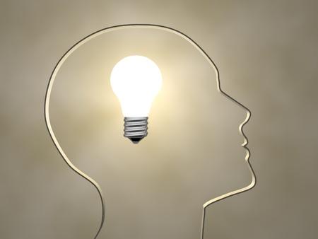 head light: Human head profile with a light bulb - 3d render illustration Stock Photo
