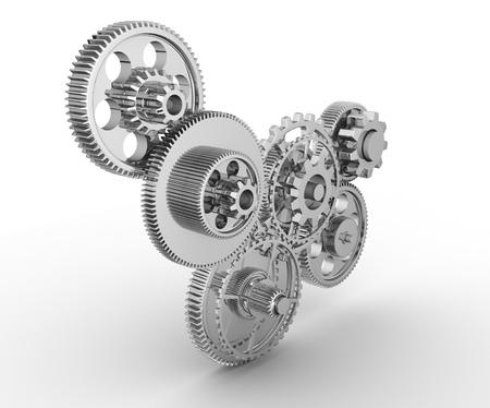 Gear mechanism - this is a 3d render illustration  illustration