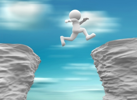 gaps: 3d people- human character jumping over a chasm  3d render illustration