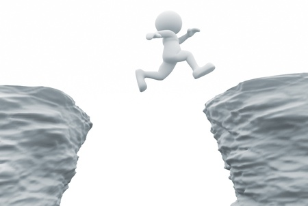 leap: 3d people- human character jumping over a chasm  3d render illustration