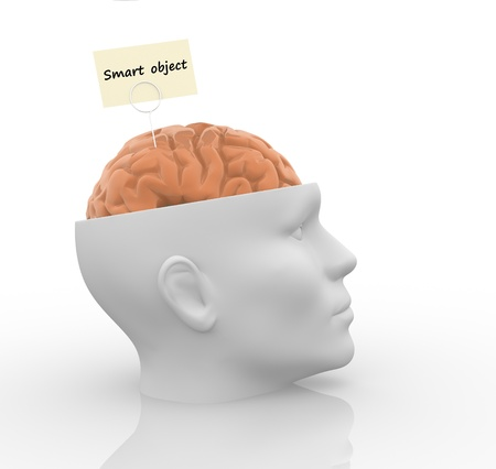 Head with brain - smart object  This is a 3d render illustration illustration